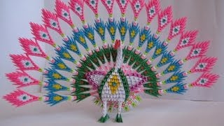 getlinkyoutube.com-3D Origami Peacock with 19 Tails 1538 pieces