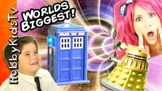 Worlds Biggest DOCTOR WHO Surprise Tardis Egg Adventure! Dalek Attack + Dinosaurs HobbyKidsTV