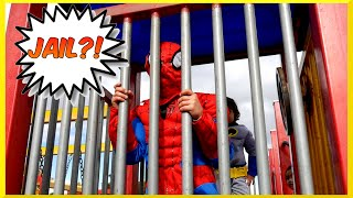 getlinkyoutube.com-Superheroes Battle BATMAN VS SPIDERMAN Goes to Jail EGG SURPRISE Playground Family Fun Playtime Park