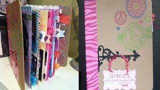 getlinkyoutube.com-How to make a school mini scrapbook album - Gracie's 4th grade album Part 1