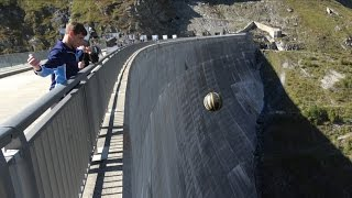 getlinkyoutube.com-What Happens When You Throw Basketballs Off a HUGE Dam With Different Spins