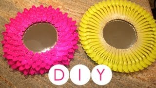 getlinkyoutube.com-DIY- Decora tu cuarto o habitación/ Espejo con cucharas de plástico