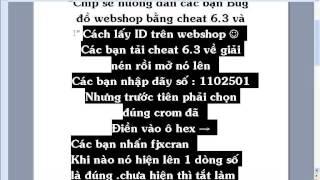 getlinkyoutube.com-Hướng dẫn bug Cheat 6.3 mua đồ trong webshop và lấy ID iteam trong web shop