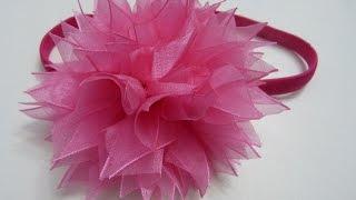 getlinkyoutube.com-D.I.Y. Organza Pom-Poms tutorial para el cabello. Moños flores paso a paso