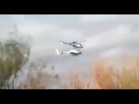 لحظة تصادم طائرتي هيلوكبتر