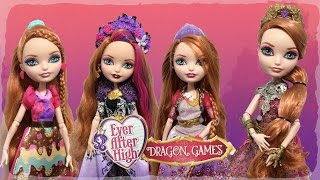 getlinkyoutube.com-DRAGON GAMES HOLLY O HAIR REVIEW & SUGAR COATED, SPRING UNSPRUNG EVER AFTER HIGH DOLL COMPARISONS