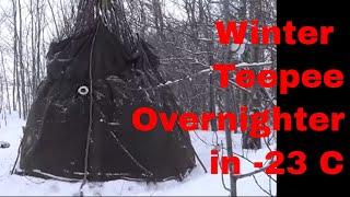 getlinkyoutube.com-Winter Teepee Overnighter in -23C