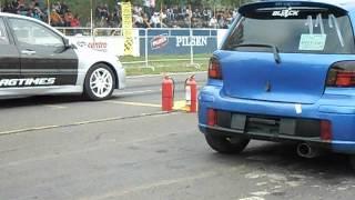 getlinkyoutube.com-Mitsubishi evo 9 Vs  Toyota vitz RS 4ta prueba 05 08 12