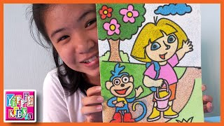getlinkyoutube.com-Dora The Explorer Sand Art Color Sand Painting by Tina | YippieKidsTV
