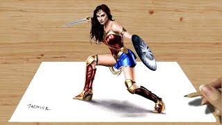 3D Colored Pencil Drawing: Wonder Woman - Speed Draw | Jasmina Susak