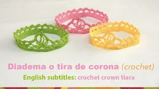 getlinkyoutube.com-Diadema o tiara de corona tejida a crochet para bebés / English subtitles: crochet baby crown tiara