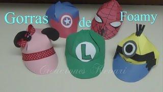 getlinkyoutube.com-Gorra de Foamy con Moldes de Mario y Luigi Bros,Minions,Superheores Hombre araña