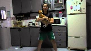 Working out with Yvonne Bon\'s Pet Cat; Having fun!