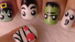getlinkyoutube.com-Halloween Nails - Halloween Monsters Nail Art *Mummies, Witches, Frankenstein, Dracula and Ghosts*