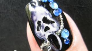 getlinkyoutube.com-Halloween Nails Art Tutorial - Punk Rock Scream Mask Scary Movies Design Fake Nails Stickers