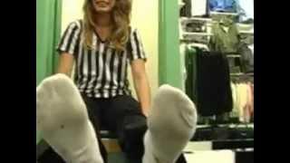 getlinkyoutube.com-footlocker girl sweaty white socks