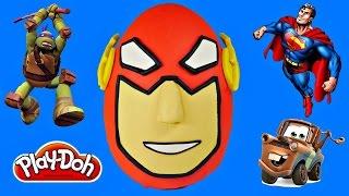 getlinkyoutube.com-GIANT PLAY DOH Surprise Egg Flash Opening Superhero Toys TMNT Disney CARS Play Doh Huevo Sorpresa