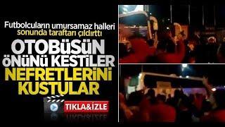 Samsunspor taraftarı otobüsün önünü kesti nefretini kustu