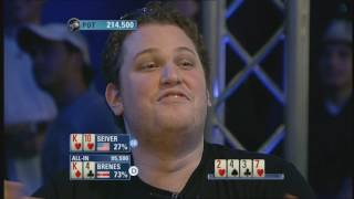 Poker Etiquette - Brenes over celebrating Poker Hand