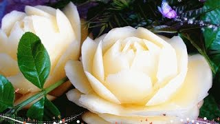 getlinkyoutube.com-Art In Potato Flower Garnish - Vegetable Carving - Potato Roses Garnish (Italypaul)