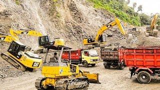getlinkyoutube.com-Excavator Working On Stone Quarry CAT 336D LME CAT 320D2 CAT 320D