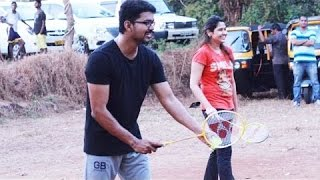 getlinkyoutube.com-Vijay 59 Shooting Spot: Ilayathalapathy Vijay and Atlee playing Badminton