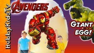 getlinkyoutube.com-World's BIGGEST HULKBUSTER IronMan Surprise Egg! Avengers Age of Ultron HobbyKidsTV