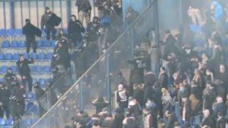 Wisła Kraków - Cracovia Kraków trouble in away sector with riot police 10.12.2016