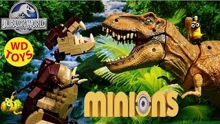 getlinkyoutube.com-Minions Mega Bloks  Dino Ride  Vs T-Rex Jurassic World   Unboxing  CPC51 WD Toys