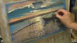 """getlinkyoutube.com-Андрей Кулагин, пастель, """"Закат на озере"""""""