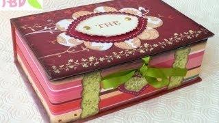 getlinkyoutube.com-Scrap tutorial: Scatola Scrap Porta bustine da Tè - Tea bags holder Box