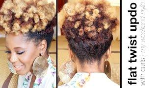 getlinkyoutube.com-Easy Flat Twist Updo with Curls | Natural Hair | askpRoy