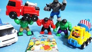 getlinkyoutube.com-레고 헐크 뽀로로 또봇 4종류 슈퍼히어로즈 헐크 레고 심슨 장난감 unboxing hulk toys