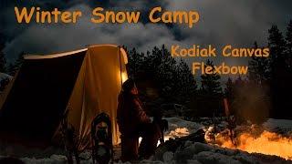 getlinkyoutube.com-Winter Snow Camp Kodiak Canvas Flexbow Tent