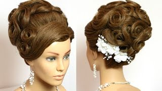 getlinkyoutube.com-Bridal updo. Wedding prom hairstyles for long hair tutorial