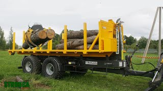 Round wood transport with a hook lift trailer and 7.2m Stronga flatbed