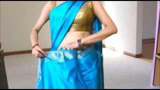 getlinkyoutube.com-How To Wear South Silk Saree to Look Really Slim(South indian sari draping)