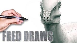 getlinkyoutube.com-Pachycephalosaurus for Wikipedia | Dinosaur Timelapse Paint | Fred Draws
