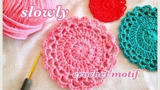 getlinkyoutube.com-【初心者向け】長編みの円を使ったモチーフの編み方slowlyバージョン(かぎ針編み)