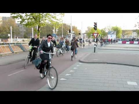 Bicycle Rush Hour Utrecht Netherlands [time lapse  video]
