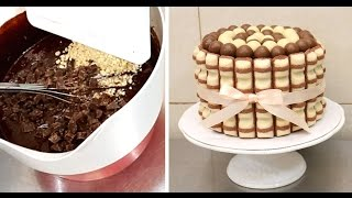 getlinkyoutube.com-Kinder Brownie Cake - Pastel de chocolate