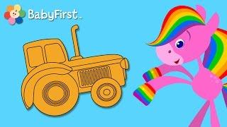 getlinkyoutube.com-Riding | Coloring and Music | Rainbow Horse | BabyFirst TV