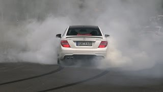 getlinkyoutube.com-MASSIVE BURNOUT 600HP Wimmer Performance Mercedes C63 AMG Coupe!