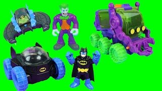 getlinkyoutube.com-Imaginext Joker Hauler takes Caillou TMNT April Monsters Mike & Batman Moon Rover saves them