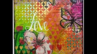 "getlinkyoutube.com-Mixed Media canvas ""Love"" start to finish tutorial by Susanne Rose"