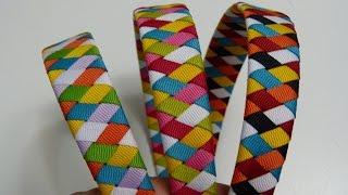 getlinkyoutube.com-Tutorial Diademas forradas con cinta de 6 colores diferentes,faciles vinchas tejidas
