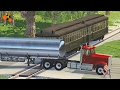 Beamng drive | Subway Train Crashes #1 with real sounds, railway crossing crashes, road train