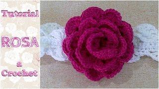 getlinkyoutube.com-Como tejer una ROSA a crochet ganchillo