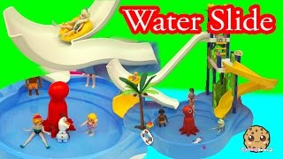 getlinkyoutube.com-Disney Frozen Queen Elsa & Princess Anna Water Pool Slide Park Fun - Cookieswirlc