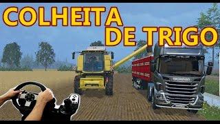 FARMING SIMULATOR 15 - COLHEITA DE TRIGO, GRANEL RANDON, G27!!!!